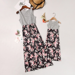 Floral Stripe Splice Print Tank Dresses for Mommy and Me