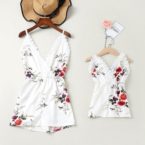 Floral Print Lace Decor White Sling Rompers for Mommy and Me