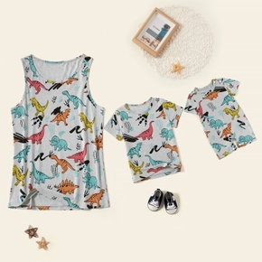 Dinosaur Print Pattern Grey Tank Tops for Mom and Me