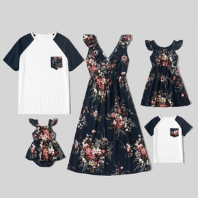 Floral Print Family Matching Sets(Ruffle Sleeve Dresses for Mom and Girl ;Raglan Sleeves T-shirts for Dad and Boy)