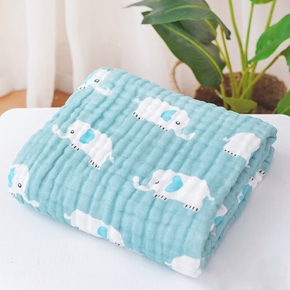 Six-layer cotton cartoon Elephant printed baby blanket with seersucker folds