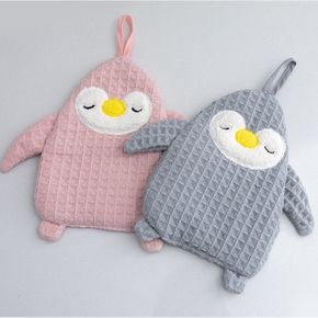 Waffle Cute Penguin Gifts Hanging Hand Towels for Bathroom Absorbent Kitchen Dish Cloth Hand Dry Towel