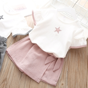 2-piece Baby / Toddler Pretty Plaid Star Top and Skirt shorts Sets