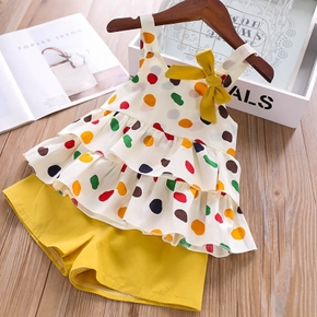 Baby / Toddler Colorful Polka Dots Strappy Top and Solid Shorts Set