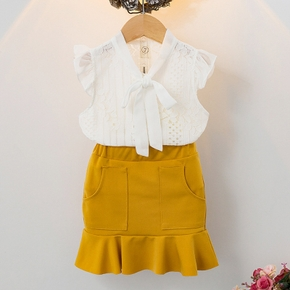 2-piece Baby / Toddler Girl Hollow Out Solid Top and Skirt Set