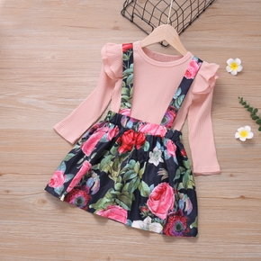 2-piece Baby / Toddler Solid Top and Floral Overalls Set