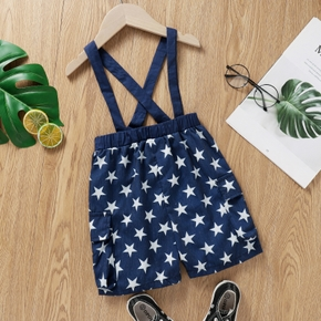 Toddler Boy 100% Cotton Stars Print Overalls With Pocket