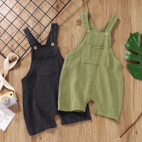 Toddler Boy Button Design Solid Overalls with Pocket