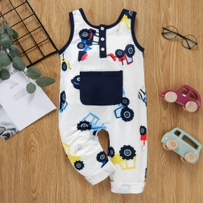 Toddler Boy Vehicle Print Button Design Sleeveless Jumpsuit with Pocket