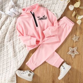 2-piece Toddler Girl Letter Print Stand Collar Zipper Sweatshirt and Elasticized Solid Pants Set