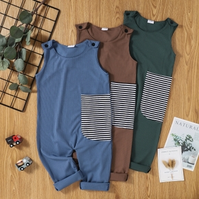 Toddler Boy Striped Splice Casual Jumpsuit
