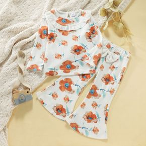 2-piece Toddler Girl Floral Print Flounce Long-sleeve Tee and Bowknot Design Flared Pants Set