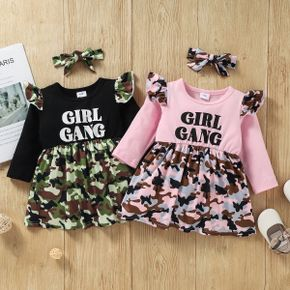 Baby 2pcs Letter Print and Camouflage Splicing Long-sleeve Dress