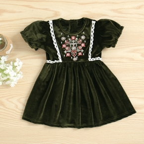 1PCS Baby Girl Short-sleeve Floral Print Retro Dress