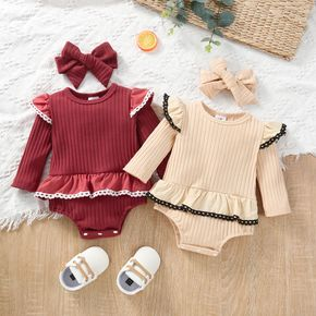 100% Cotton Baby 2pcs Ribbed Solid Ruffle Splice Long-sleeve Romper Set