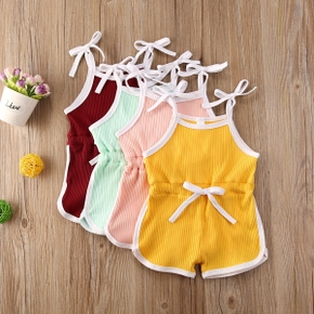 Baby Solid Pleated Strappy Bodysuit with Drawsting