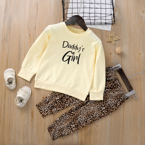 2-piece Baby / Toddler Girl Letter Solid Long-sleeve Top and Leopard Print Pants Set