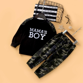 2-piece Baby / Toddler Boy Letter Long-sleeve Top and Camouflage Pants Set