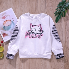 Baby / Toddler Cat Plaid Splice Long-sleeve Pullover