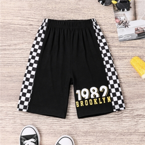 Toddler Boy Plaid Letter Casual Shorts