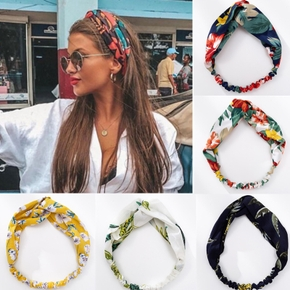 Fashion Women Girls Summer Bohemian Hair Bands Print Headbands Vintage Cross Turban Bandage Bandanas HairBands Hair Accessories