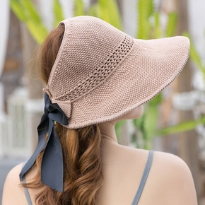 Women's Empty Top Hat Summer Big Eaves Bowknot Hollow Straw Hat Travel Sun Sunshade Protection Hats