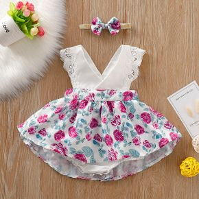 Baby Girl's Lace Decor Floral Allover Dress and Bow Headband