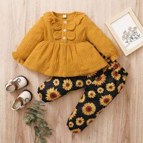 2pcs Baby Girl Sweet Sunflowers Baby's Sets Cotton Fashion Long Sleeve Infant Clothing Outfits