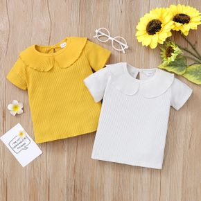 Baby / Toddler Casual Flounced Collar Solid Tee