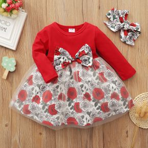 1pc Baby Girl Long-sleeve Cotton  Floral Sweet Dress