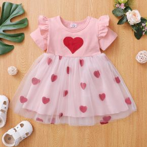 1pc Baby Girl Short-sleeve Cotton  Heart-shaped Sweet Dress