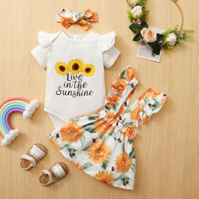 3pcs Baby Girl Short-sleeve Cotton Romper Sweet Suit-dress