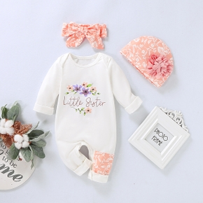 3-piece Baby Girl Little Sister Letter Print Long-sleeve Jumpsuit , Headband, Hat Set