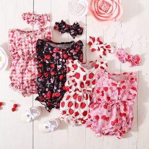 2-Piece Strawberry or Cherry Plaid Print Flutter-sleeve Ruffle Romper and Headband Set