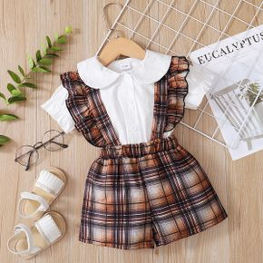 2pcs Baby Girl Summer Solid Cotton Flutter-sleeve Top Plaid Jumpsuit Fashionable Clothes