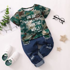 2-piece Toddler Boy Letter Camouflage Tee and Jeans Set