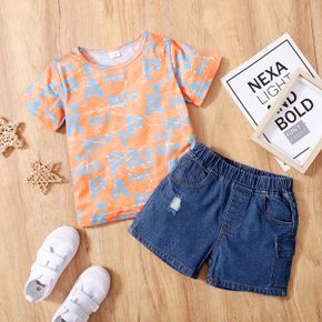 2-piece Toddler Boy Letter Tee and Jeans