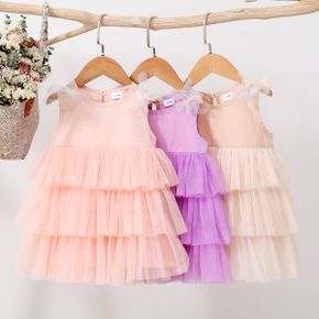 100% Cotton Solid Mesh Layered Baby Dress