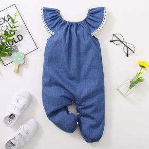 Denim Flutter-sleeve Baby Jumpsuit