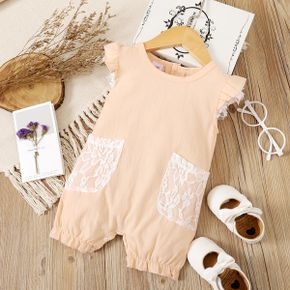 100% Cotton Solid Lace Decor Flutter-sleeve Rose Golden Baby Romepr