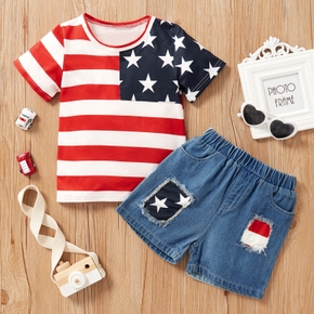 2-piece Baby / Toddler Boy Flag Tee and Denim Shorts Set of independence Day