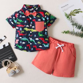 2-piece Toddler Boy Dinosaur Tree Print Short-sleeve Shirt with Bow Tie and Solid Shorts Set