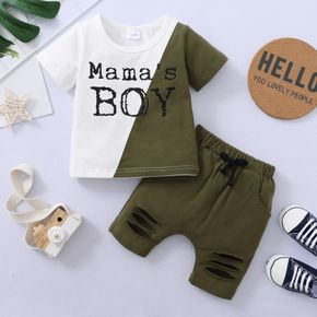 2-piece Toddler Boy Letter Print Colorblock T-shirt and Ripped Solid Shorts Set
