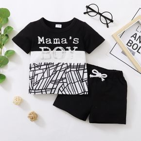 2-piece Toddler Boy Letter Geometric Print T-shirt and Elasticized Solid Shorts Set