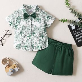 2-piece Toddler Boy Floral Leaf Print Bow tie Decor Short-sleeve Shirt and Solid Shorts with Pocket Set
