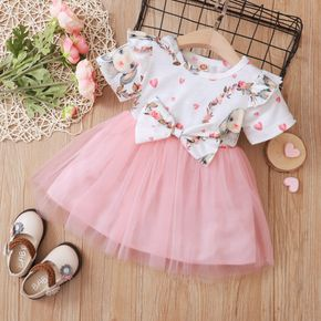Bunny and Floral Print Mesh Splice Short-sleeve White Pink Baby Dress