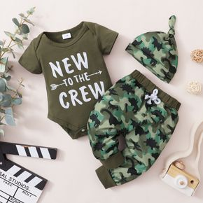 3pcs Letter and Camouflage Print Short-sleeve Green Baby Set