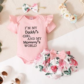 Ribbed 3pcs Letter Embroidery and Floral Print Short-sleeve Baby Set
