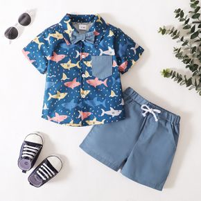 2-piece Toddler Boy Shark Print Button Down Short-sleeve Shirt with Bow tie and 100% Cotton Elasticized Solid Shorts with Pocket Set