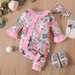 2pcs Floral Allover Ruffle Decor Long-sleeve Pink Baby Set